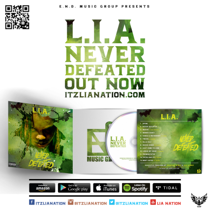L.I.A. - Never Defeated cover art - social media announcement - 2 (byLCGraphics)